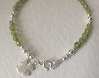 Green Peridot Sterling Silver Four Leaf Clover Charm Bracelet, Green Gemstone Bracelet, August Birthstone Jewelry, Lucky Charm Bracelet