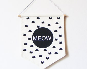 Wall FLAG MEOW.  Wall banner MEOW. Cat head pattern. Hand screen printed pattern.  Screen printed. Cat addicts.