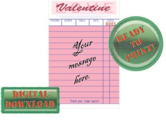 Custom Valentine Printable Diner Guest Check Card Personalize Add Message Pink Party Tag Love Rockabilly Retro Holiday Gift Vintage Ephemera