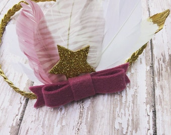 Beautiful felt bow and feathers headband