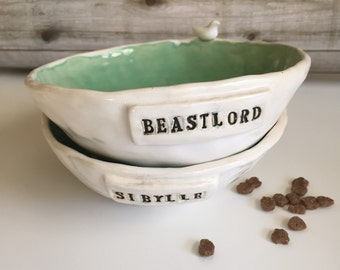 Customizable Cat Bowl with Bird