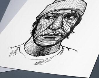 Elliott Smith Line Drawing Portrait Print