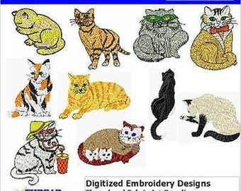 Embroidery Design CD - Cats(1) - 12 Designs - 9 Formats - Threadart