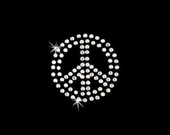 Rhinestone Transfer - Hot Fix Motif - Peace Sign - Small