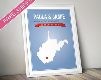 Personalized West Virginia Wedding Gift - Custom West Virginia State Map Art Print, Wedding Guest Book, Engagement Gift, Mid Century Modern