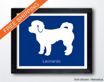 Personalized Shihpoo Silhouette Print with Custom Name - Shihpoo art, dog portrait, modern dog home decor