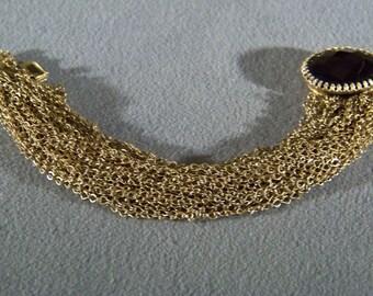 Vintage Yellow Gold Tone 40 Strand chain bracelet huge Oval Jet Black Stone   **RL