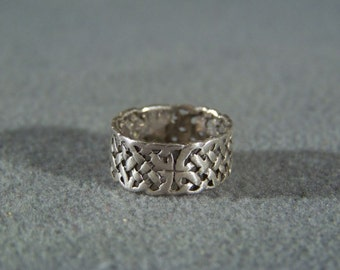 Vintage Sterling silver scroll eternity wide wedding band ring Size 5 1/2   **RL
