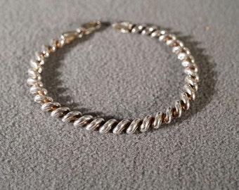 Vintage Sterling Silver Italian Multi San Marco Design Link Bracelet Jewelry **RL
