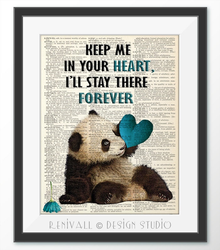 Panda Blue Love Dictionary Art Print Dictionary Paper Panda