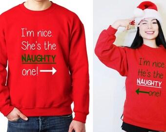 Nice and Naughty Matching Couple Sweatshirt, Nice and Naughty Sibling Sweater, Matching Twin Christmas Sweatshirt, Couple Ugly Xmas Sweaters