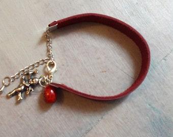 Charms bracelet, woman leather bracelet, burgundy bracelet, gift for her, red bracelet, angel bracelet