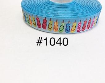 "3 or 5 yard - 7/8"" Summer Flip Flop or Slippers on Blue Grosgrain Ribbon Hair bow"