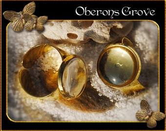 5 ring shanks gold with 14mm Cabochons