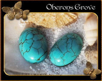 2 turquoise magnesite cabochons 13x18mm