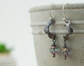 Copper earrings, flower dangle earrings, lavender glass beads, handmade,  nickel free jewelry
