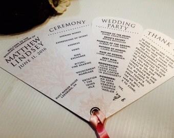 Blushing Tree Wedding Programs • Fan Wedding Programs • Petal Fans • 4 Petals • With Ribbon Detail  • 107lb Metallic or 100lb Matte Cards