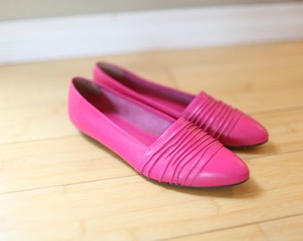 vintage pink ruched leather flats womens 7 1/2 *