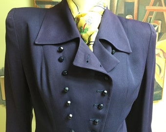 Amazing Vintage 1940s Double Breasted Fitted Jacket - Small