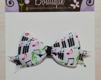 Boutique Style Hair Bow - Music Notes, Piano