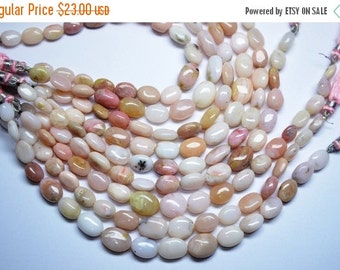 35%Dis Beautiful AA 8 Inch 9-14mm Natural Peruvian Pink Opal Smooth Oval Nuggets Beads Strand-15-16 Beads/Strand Apx
