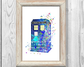 Tardis Print Doctor Who Poster Watercolor illustrations Art Print Giclee Wall Decor Art  Home Decor  No 28