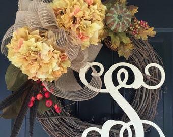 New Fall Wreath - Hydrangea Deco Mesh Pumpkin Monogrammed Wreath -Wreath -Fall  Decor - Housewarming Gifts - Wreaths -Deco Mesh -Gifts