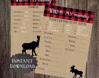 Who's My Mommy, Printable Moose Baby Shower Game , Lumberjack, Buffalo Plaid, Baby Shower Game