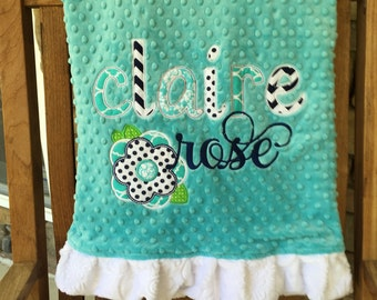 Large Baby Applique Minky Blanket - Personalized with Design; Ruffles or Square Edge