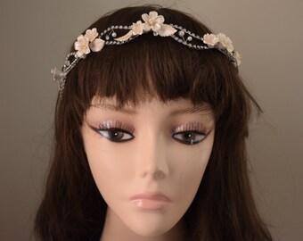 peach wedding headband, pink bridal headband, floral headpiece, floral headband, floral wedding headband, silver headband, silver headpiece