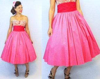 """50s Skirt / 1950s Skirt / High Waist Skirt / Full Skirt / Circle Skirt / 50s Circle Skirt / 1950s Circle Skirt / New Look Skirt / W 26 1/2"""""""