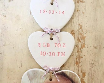 Welcome to the world hanging hearts, newborn gift, baby gift, christening gift