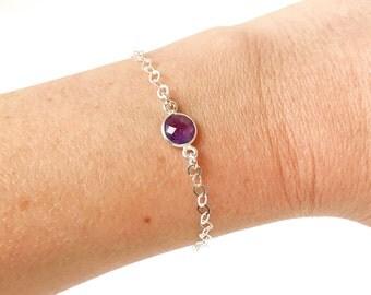 Amethyst bracelet - minimalist bracelet - sterling silver bracelet - magnetic bracelet - Febuary Birthstone