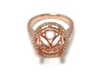 11mm Round Diamond Ring Semi Mount in 14K Rose Gold Sale by Best in Gems (9332)*