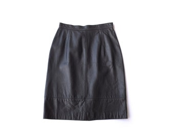 Black Leather Pencil Skirt | XS S | Vintage