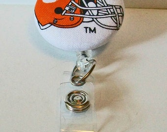 Orange and White Tiger Paw Football Helmet Fabric Button Retractable Badge Reel Clip