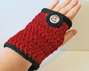 Trendy Garnet and Black Gamecocks Hand Crocheted Fingerless Gloves 3 Sizes Available