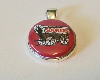 Fun Crimson and White Covered Wagon Sooner Inspired Round Silver Pendant