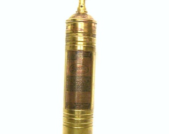 Vintage Brass Pyrene Hand Pump Fire Extinguisher Fireman Firehouse Display