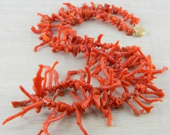 ON SALE 14K Gold Filled Italian Red Coral Branch Beaded Necklace Antique An-N40