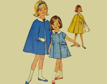 1960s Girls Dress Patterns Vintage Sewing Patterns for Girls Simplicity 5477 Childrens Dress Matching Cape Pattern UNCUT Girls Dress Pattern