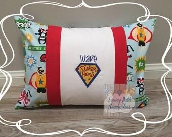 Kids Pillow, Super Hero Travel Pillow case, Personalized Super Hero , super Heroes Pillow Cover, Pillow Cover, Kids Bedding