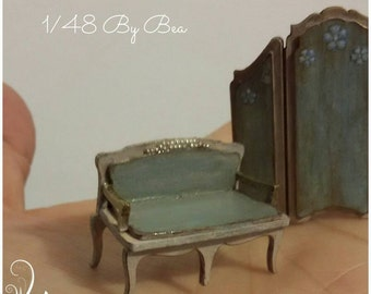 1/48 French shabby sofa, miniature 1/4 scale dollshouse hand painted and decorated by Bea