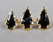 Wholesale Arrowhead Ring Gold Plated Black Obsidian Ring Natural Gemstone Jewelry Handmade Gold Electroplated Rough Obsidian Ring G0699