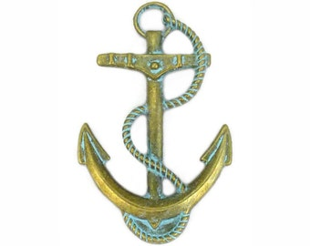 4 Gold Anchor Charm Pendant 48x30mm by TIJC SP1177