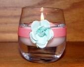 Light Blue Wedding / Wedding Votive Candle Holder / Serenity Blue and Rose Quartz Pink Wedding Decoration / Garden Wedding Decor / 6