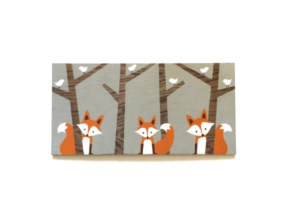 Nursery Wood Wall Decor : Woodland nursery decor wood wall art fox