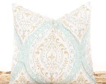 SALE ENDS SOON Seafoam Green Pillow, Brown and Cream Accent Pillow, Sofa Cushion, Shabby Chic Pillows, Soft Cotton Fabric, Seafoam Green