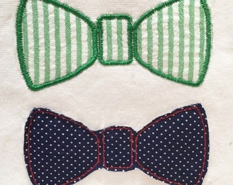 Sweet and simple bow tie machine embroidery and appliqué designs.  Perfect on a onesie for your little man.