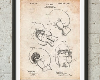 Vintage Boxing Glove 1898 Patent Poster, Boxing Poster, Sports Wall Art, Boxer Art, Coach Gift, PP0058